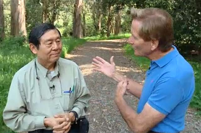 "Ron Horii being interviewed by Doug McConnell for the ""Open Road"" TV show."
